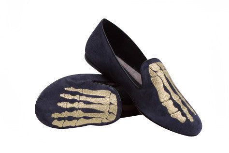 Jem Skull Slipper - Navy & Gold