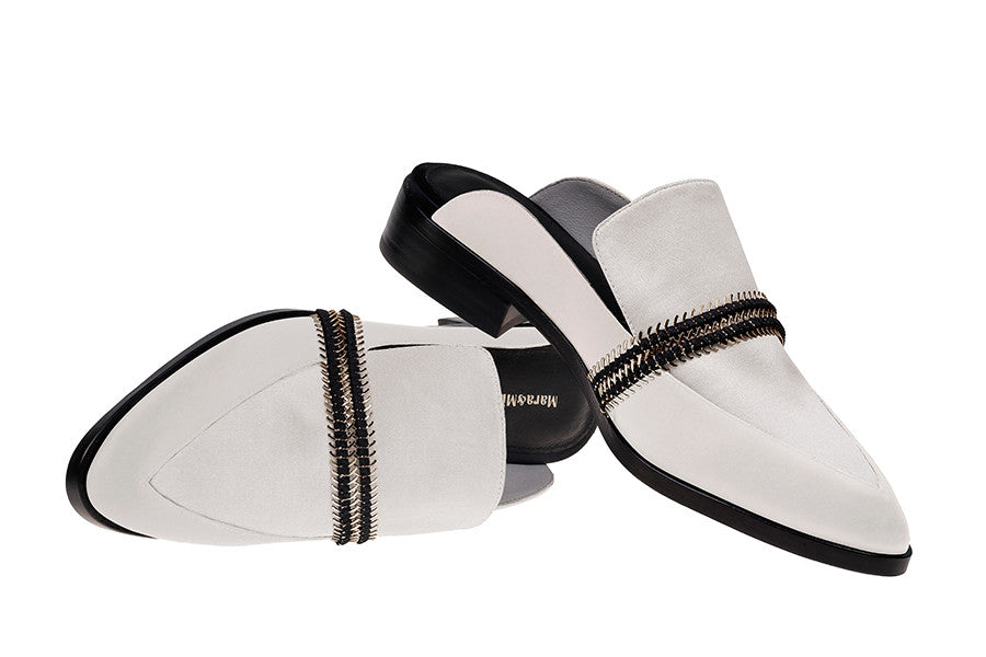 Louise Mule - White Satin Mules with Silver Hardware