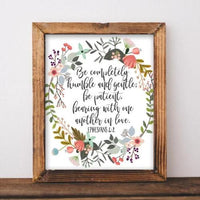 Ephesians 4:2 - Printable - Printable Digital Download Art by Gracie Lou Printables