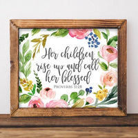 Proverbs 31:28 - Printable - Printable Digital Download Art by Gracie Lou Printables