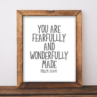 Fearfully and Wonderfully Made, Psalm 139:14 - Printable - Printable Digital Download Art by Gracie Lou Printables