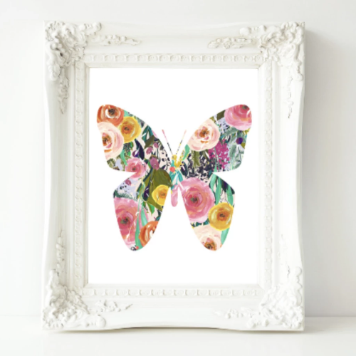 Floral Butterfly - Printable - Printable Digital Download Art by Gracie Lou Printables