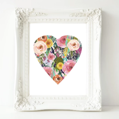 Pink Floral Heart - Printable Wall Decor - Gracie Lou Printables
