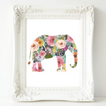 Floral Elephant - Printable Wall Decor - Gracie Lou Printables