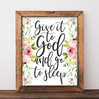 Give it to God and Go to Sleep - Bedroom Printable Wall Art - Gracie Lou Printables