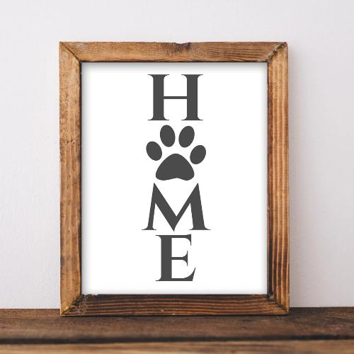 Home - Paw Print - Printable - Printable Digital Download Art by Gracie Lou Printables