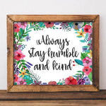 Humble and Kind - Printable - Printable Digital Download Art by Gracie Lou Printables