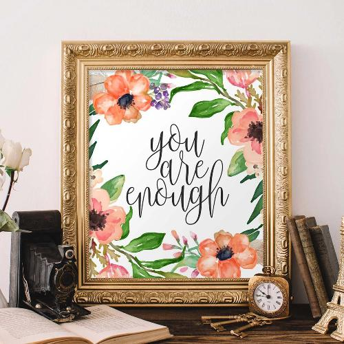 You Are Enough - Printable - Printable Digital Download Art by Gracie Lou Printables