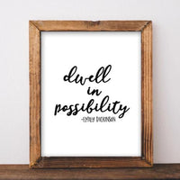 Printable Art, Emily Dickinson quote, Dwell in possibility Quote Art Digital Art home decor dorm decor poster printable wall art black white - gracie-lou-printables