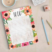 Printable To Do list, Floral to do list, 8.5 x11, instant download, day planner, things to do today, daily list, floral daily to-do list art - Gracie Lou Printables