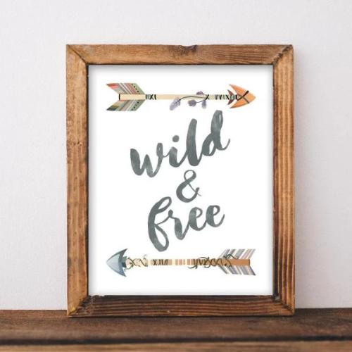Wild & Free - Printable - Printable Digital Download Art by Gracie Lou Printables