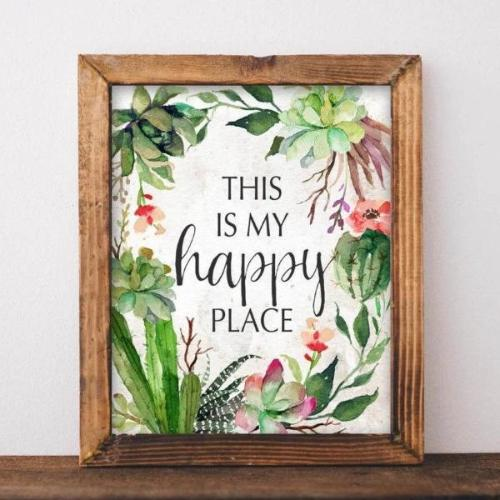 My Happy Place - Printable - Printable Digital Download Art by Gracie Lou Printables