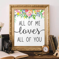 All of Me Loves All of You - Printable - Printable Digital Download Art by Gracie Lou Printables