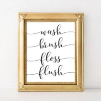 Wash Brush Floss Flush - Printable - Printable Digital Download Art by Gracie Lou Printables