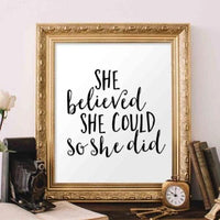 She Believed - Printable - Printable Digital Download Art by Gracie Lou Printables