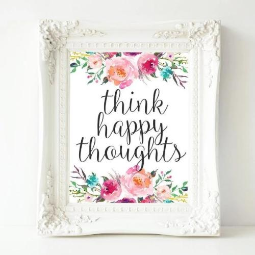 Think Happy Thoughts - Printable - Printable Digital Download Art by Gracie Lou Printables