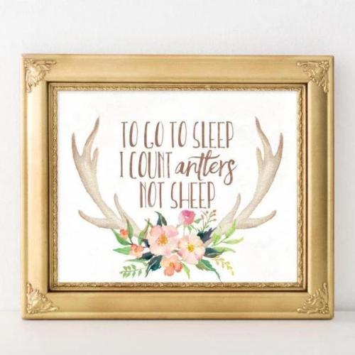 Antlers not Sleep - Printable - Printable Digital Download Art by Gracie Lou Printables