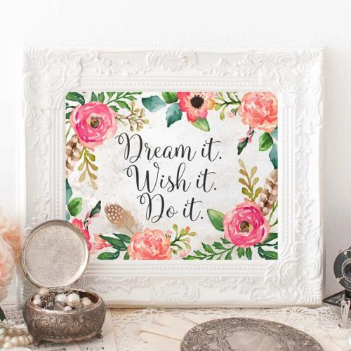 Dream it. Wish it. Do it. - Printable - Printable Digital Download Art by Gracie Lou Printables
