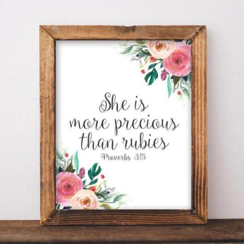 She is More Precious Than Rubies, Proverbs 3:15 - Printable Bible Verse - Gracie Lou Printables