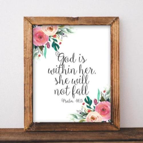 God is Within Her, She Will Not Fall, Psalm 46:5 - Printable - Gracie Lou Printables