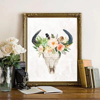 Floral Bull Skull - Printable - Printable Digital Download Art by Gracie Lou Printables