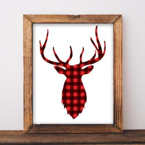 SALE! Christmas Printable, Deer Print, Red plaid deer print, Christmas deer printable, Holiday printable, Rustic Christmas print - Gracie Lou Printables