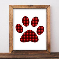SALE! Christmas Dog Paw Printable Red Buffalo check Christmas paw print Christmas red plaid printable, Buffalo plaid Rustic Christmas - Gracie Lou Printables