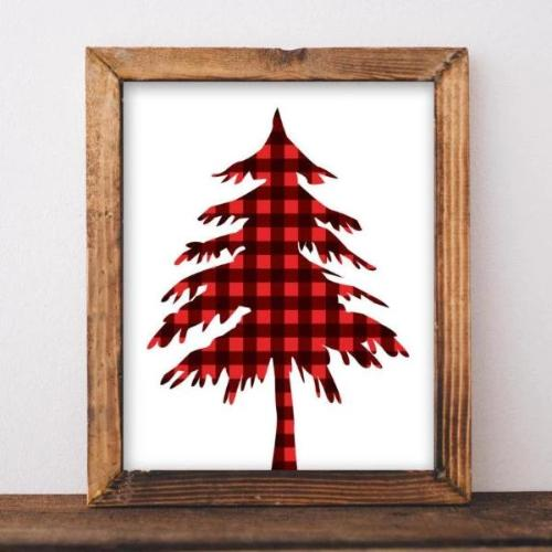 SALE! Christmas Printable, Rustic Tree print, Red plaid tree print, Christmas tree printable, Holiday printable, Rustic Christmas print - Gracie Lou Printables