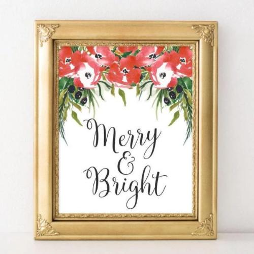 Merry & Bright - Printable - Printable Digital Download Art by Gracie Lou Printables