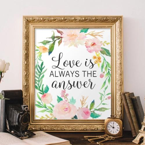 Love is always the answer - Printable Quote - Printable Digital Download Art by Gracie Lou Printables