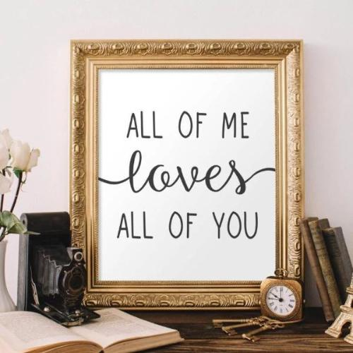 All of me loves all of you - Printable - Gracie Lou Printables