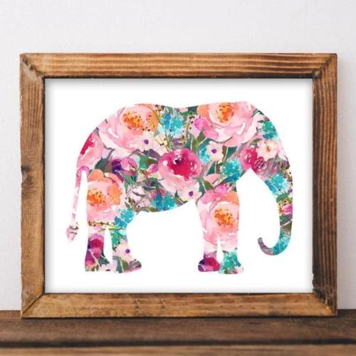 Floral Elephant - Printable - Printable Digital Download Art by Gracie Lou Printables