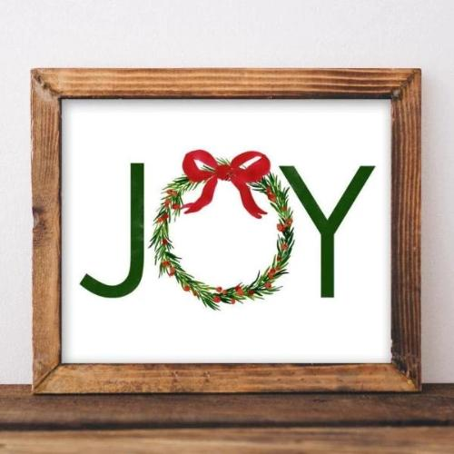 Joy - Christmas Printable - Printable Digital Download Art by Gracie Lou Printables