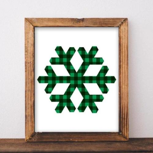 Buffalo Check Snowflake - Printable - Printable Digital Download Art by Gracie Lou Printables