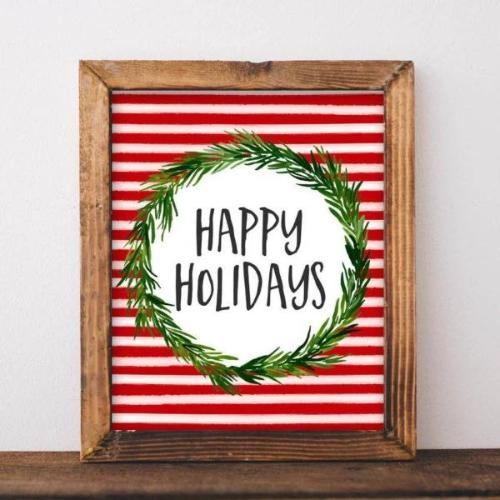 Happy Holidays - Printable - Printable Digital Download Art by Gracie Lou Printables