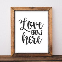 Love Grows Here - Printable - Printable Digital Download Art by Gracie Lou Printables