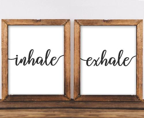 Quote Printable Wall Art, Inhale Exhale printable quote home decor wall Print home wall yoga printable meditation gallery wall black white - Gracie Lou Printables