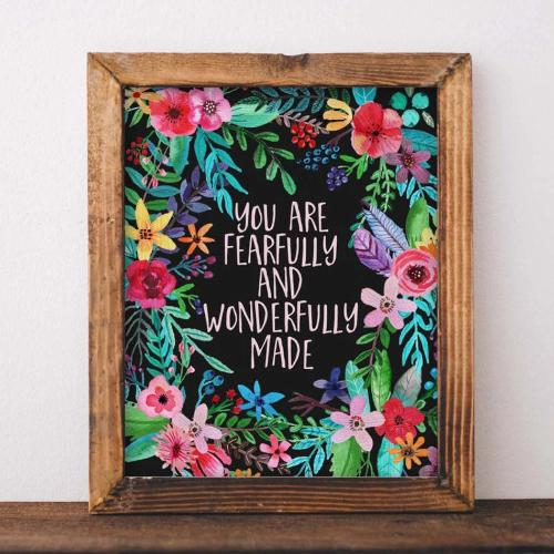 Fearfully and Wonderfully Made - Printable - Printable Digital Download Art by Gracie Lou Printables