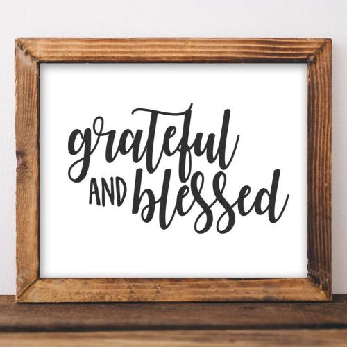 Grateful and Blessed - Printable - Printable Digital Download Art by Gracie Lou Printables