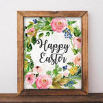 Easter Printable Wall Art, Happy Easter printable art, Easter decor, Easter art, He is Risen wall decor, Spring printable digital art print - Gracie Lou Printables