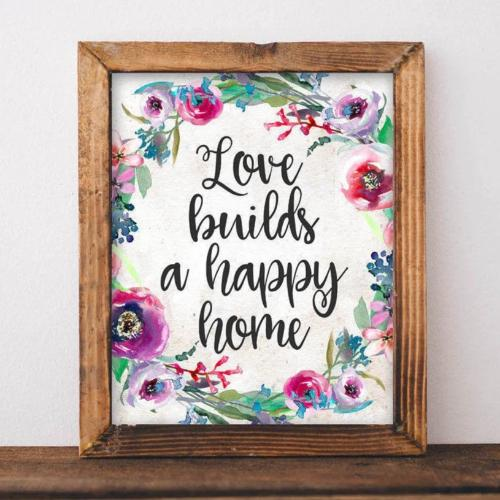 Love Builds a Happy Home - Printable - Printable Digital Download Art by Gracie Lou Printables