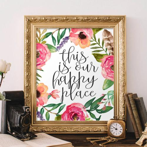 Printable Wall Art This is Our Happy Place quote home decor printable quote floral printable art apartment poster printable sign art print - Gracie Lou Printables