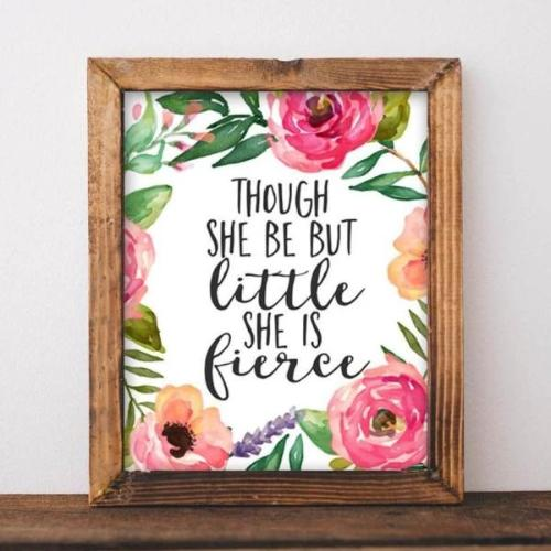 Nursery printable art Though She Be But Little She is Fierce printable quote baby girl pink floral Nursery wall art Nursery Art pink decor - Gracie Lou Printables