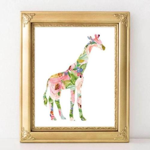 Floral Giraffe - Printable - Printable Digital Download Art by Gracie Lou Printables