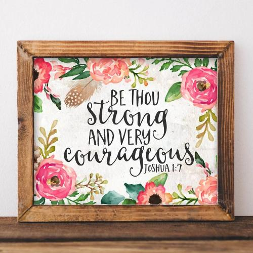 Joshua 1:7 - Printable - Printable Digital Download Art by Gracie Lou Printables