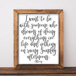 Dreams of Doing Everything in Life - Printable - Printable Digital Download Art by Gracie Lou Printables