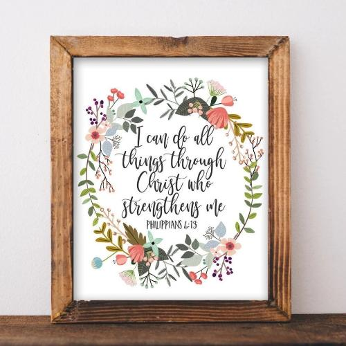Printable Wall Art, I can do all things through Christ who strengthens me Philippians 4:13 Scripture art, DIY home decor gift idea print art - Gracie Lou Printables