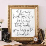 Always Find Time - Printable - Printable Digital Download Art by Gracie Lou Printables