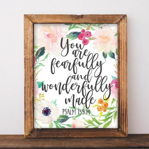 Psalm 139:14 - Printable - Printable Digital Download Art by Gracie Lou Printables