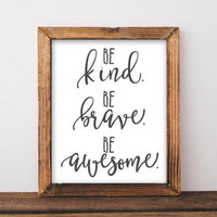 Kind, Brave, Awesome - Printable - Printable Digital Download Art by Gracie Lou Printables